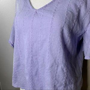 Universal Thread Tops - Universal Thread Lilac Cotton V Neck Blouse